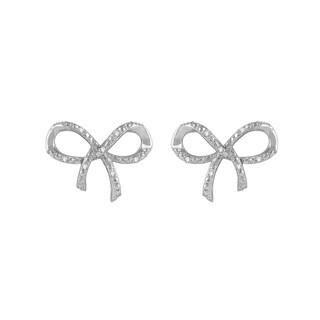 Sterling Silver 1/10-carat TCW Diamond Bow Fashion Earrings