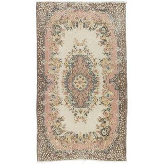 Ecarpetgallery Anatolian Ivory/Yellow Wool/Cotton Vintage Hand-knotted Rug (3'10 x 7'10)