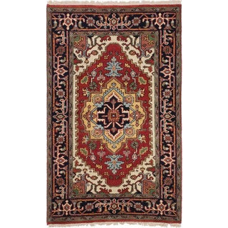 eCarpetGallery Serapi Heritage Orange/Black Cotton/Wool Hand-knotted Rug (3'0 x 5'0)