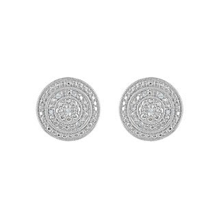 925 Sterling Silver 1/10ct T.W. Diamond Layered Circle Stud Earring (I-J, I2-I3)