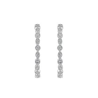925 Sterling Silver 1/10 ct T.W. Hoop Earring (I-J, I2-I3)