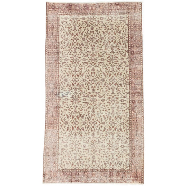 eCarpetGallery Keisari Brown/Yellow Cotton/Wool Vintage Hand-knotted Rug (3'7 x 6'8)