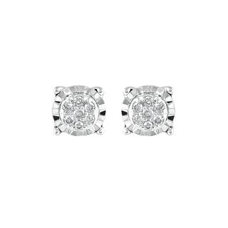 925 Sterling Silver 1/10ct T.W. Diamond composite Stud Earring (I-J, I2-I3)