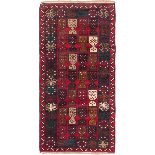 Ecarpetgallery Baluch Red/Cream Wool Hand-knotted Rug (3'3 x 6'3)