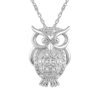 925 Sterling Silver 1/10 ct T.W. White Diamond Owl Pendant with Chain (I-J, I2-I3)