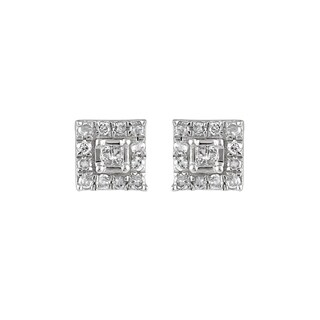 925 Sterling Silver 1/4ct T.W. Princess Diamond Stud Earring (I-J, I2-I3)