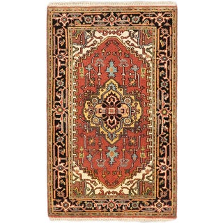 Ecarpetgallery Serapi Heritage Brown/Black Cotton/Wool Hand-knotted Rug (3'1 x 5'2)