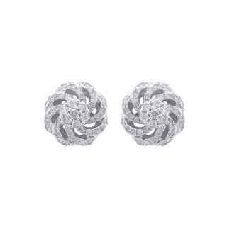 10k White Gold, Diamond Flower Stud Earrings