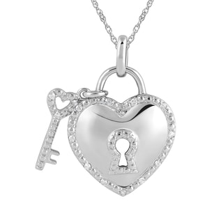 925 Sterling Silver 1/10ct T.W. Diamond Heart Lock with Key Pendant, and Chain (I-J, I2-I3)