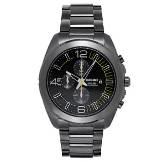 Seiko Men's Black Stainless Steel Watch