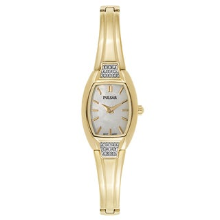 Pulsar White and Goldtone Mineral and Gold Watch