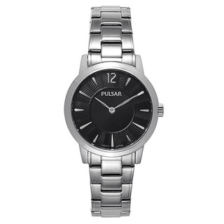 Pulsar Women's Black/Silver Stainless Steel Quartz Watch