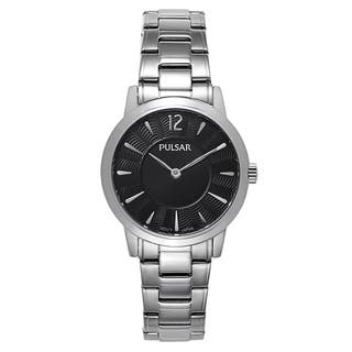 Pulsar Women S Black Silver Stainless Steel Quartz Watch