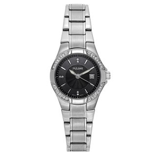 Pulsar Women's Black and Silver Stainless Steel Quartz Watch