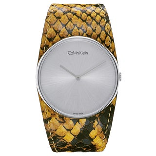 Calvin Klein Women's Silvertone Stainless Steel Snakeskin Leather Quartz Watch