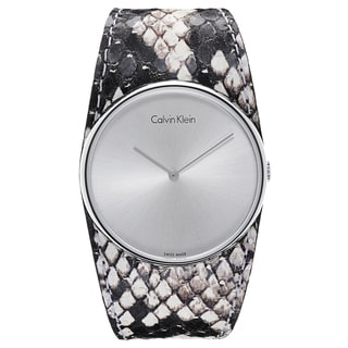 Calvin Klein Brown/Silvertone Mineral/Leather/Stainless Steel Watch