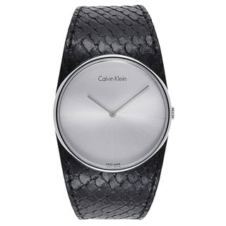 Calvin Klein Women's Black/Silvertone Mineral/Leather/Stainless Steel Watch