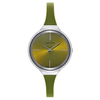 Calvin Klein Women's Round Green Stainless Steel Water-resistant Watches