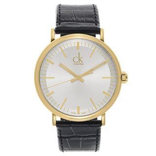 Calvin Klein Men's Black Leather Quartz Watch
