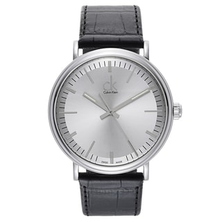 Calvin Klein Black Leather and Stainless Steel Watch