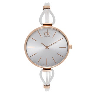 Calvin Klein Ladies' Rose Gold White Leather Watch