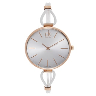 Calvin Klein Women's Rose Gold White Leather Watch