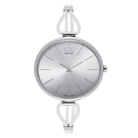 Calvin Klein Women's Stainless Steel White Leather Watch