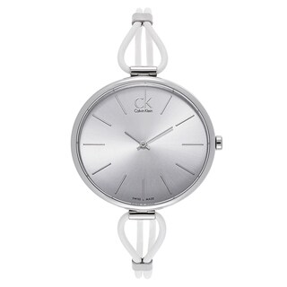 Calvin Klein Women's Stainless Steel White Leather Watch