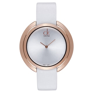 Calvin Klein Women's White and Gold Leather Quartz Watch