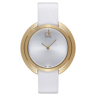 Calvin Klein Women's White Leather Silvertone Dial Watch