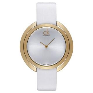 Calvin Klein Women's White Leather Silvertone Dial Watch