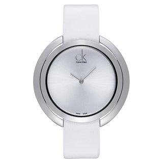 Calvin Klein Women's White Leather and Stainless Steel Luxury Watch