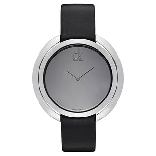 Calvin Klein Women's Stainless Steel Black Leather Watch