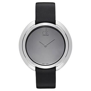 Calvin Klein Women's Stainless Steel Black Leather Watch