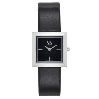 Calvin Klein Women's Black Leather/Stainless Steel Watch