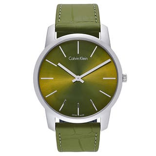 Calvin Klein Men's Green Leather and Stainless Steel Watch|https://ak1.ostkcdn.com/images/products/12058725/P18928488.jpg?impolicy=medium