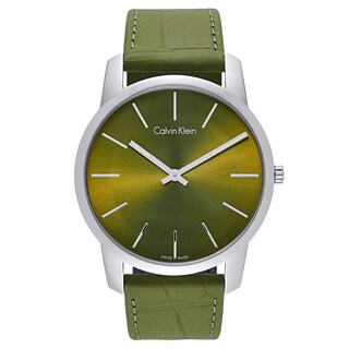 Calvin Klein Men's Green Leather and Stainless Steel Watch