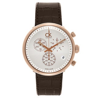 Calvin Klein Men's Brown Leather Watch With White Dial