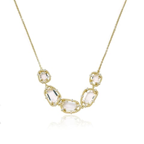 Riccova Radiance Bijou 14k Gold-plated Cubic Zirconia Sliced Glass Center Chain Necklace