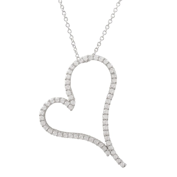 Luxiro sterling silver pave cubic zirconia open heart pendant luxiro sterling silver pave cubic zirconia open heart pendant necklace aloadofball Images