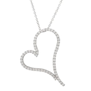 Luxiro Sterling Silver Pave Cubic Zirconia Open Heart Pendant Necklace