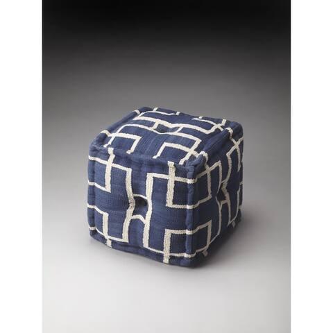 Handmade Berkeley Blue Cotton Pouf (India)