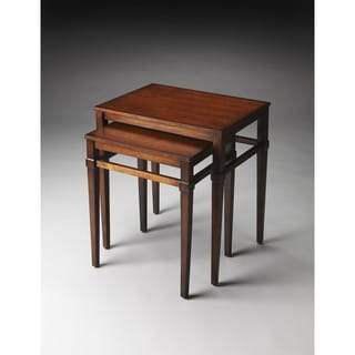 Butler Nolan Brown Wood/MDF/Resin Plantation Cherry Nesting Tables
