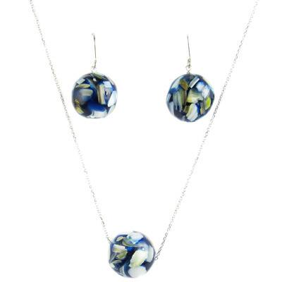 Pearl Lustre White Sterling Silver Blue Mother of Pearl Earrings and Pendant Set