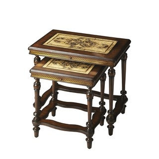 Butler Brown Wood/Brass Fossil Stone Nesting Tables