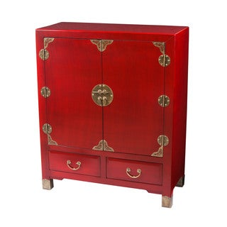 Zahava Home Collection Shanghai Vintage Style Storage Cabinet, Red