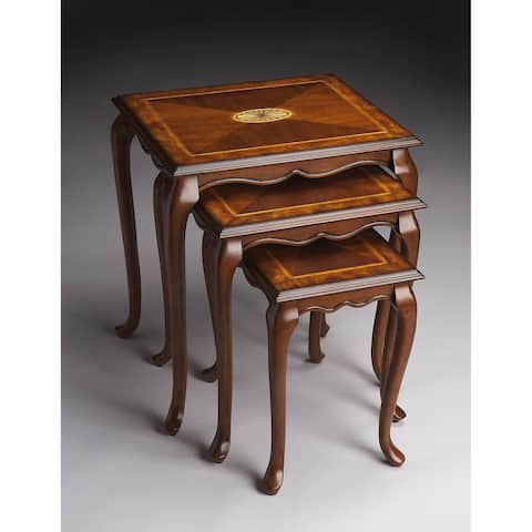 Butler Traditional Rectangular Wooden Nest of Tables in Olive Ash Burl Finish - Medium Brown
