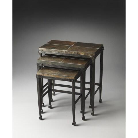 Handmade Butler Burnham Slate & Metal Nesting Tables (China)