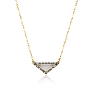 Radiance Bijou by Riccova 14k Gold and Black Rhodium-plated Cubic Zirconia White Sand Stone 15-inch Triangle Necklace