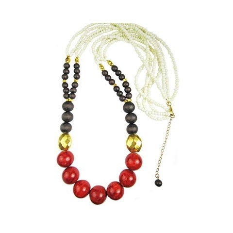 Pearl Lustre Sponge Coral and Genuine Wood Necklace - Red